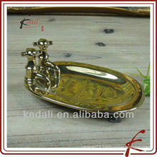 gold plate ceramic soap box
